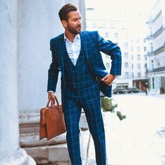 mortsandmore:Continuing the window pane look here's a beautiful blue one.  #Bespoke #MadeToMeasure #TailorMade #MenWithClass #MenWithStyle #StyleInspiration