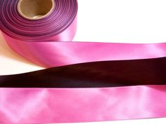 Pink Ribbon, Pink and Black Dual Tone Satin Ribbon 1 1/2 inches wide x 9 yards, SECOND QUALITY FLAWED by GriffithGardens on Etsy