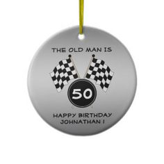 Checkered Flag Race Fan Sports Funny Birthday Ornament  Your friends will love this funny checkered flag birthday party ornament. Personalize this unique celebration ornament for your motorcycle or auto race fans big over the hill birthday party! It features a background checkered flag with black text and a silver grey background. Great for a motorcycle or auto race driver, fan, mechanic team or coach for a 20th , 30th , 40th , 50th , 60th , 70th birthday or any other age!