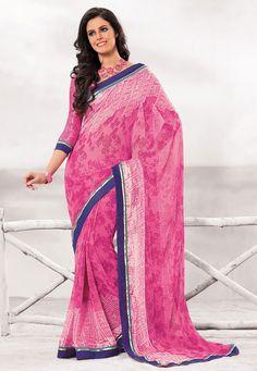 Pink Color Satin Chiffon Designer Saree