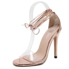 2017 Woman Open Toe Sandals Concise Nude High Heels Sandals Women Sequined Ankle Strap Summer Dress Shoes