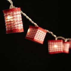 Lantern Fairy Lights - Red Gingham.
