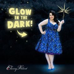 Take a ride on the Milky Way with our new vintage inspired Star Magic dress! Glow in the dark stars shine on a blue and purple background. In reg and plus size.