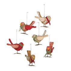 cedar lodge wooden bird ornaments holiday - Bird Christmas Ornaments