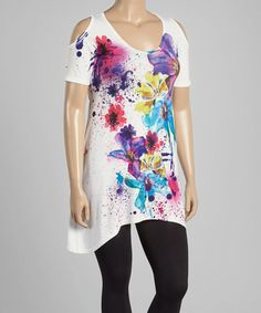 Look at this #zulilyfind! White Floral Splatter Sidetail Tunic - Plus by Citi Life #zulilyfinds