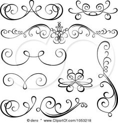 Royalty-Free Vector Clip Art Illustration of a Digital Collage Of Black And White Ornate Calligraphic Design Elements - 2 by dero (royal icing for cookies) Royal Icing Templates, Royal Icing Transfers, Piping Templates, Piping Patterns, Design Templates, Arabesque, Illustration Vector, Stock Illustrations, Tattoo Fonts