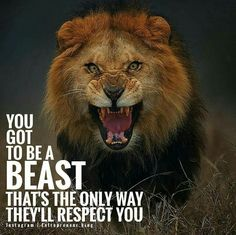 You got to be a beast. That's the only way they'll respect you.