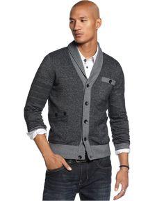 Marc Ecko Cut & Sew Sweater, Fleece Arm Band Cardigan - Mens Sweaters - Macy's