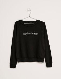 Pull tissu éponge messages BSK - Sweat-shirts - Bershka Belgium