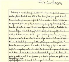 A page from Jorge Luis Borges notebook.