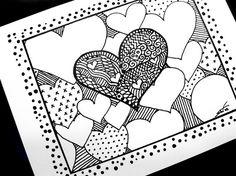 Zentangled hearts