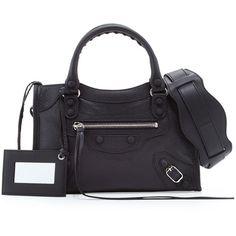 Balenciaga Classic Mini City Bag (8.480 DKK) ❤ liked on Polyvore featuring bags, handbags, balenciaga, black, studded leather handbags, tote handbags, studded handbags, studded leather purse and balenciaga handbags