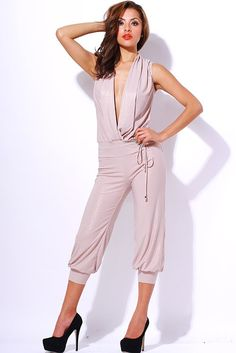 #clubwear21.com #dress #fashion Beige metallic ruched party jumpsuit-$59.00