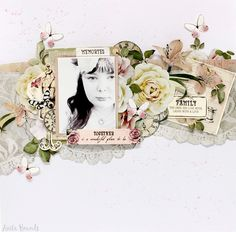 Memories: layout by designer Anita Bownds using KaiserCraft's Mademoiselle paper collection Scrapbook Sketches, Scrapbook Albums, Scrapbooking Layouts, Shabby Chic Cards, Paper Lace, Cards For Friends, Cardmaking, Paper Crafts, Memories