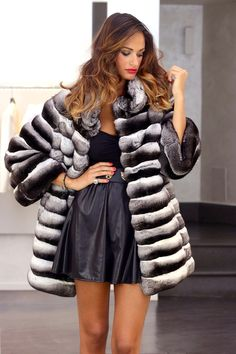Black Velvet Chinchilla Fur Coat