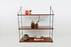 Vintage Mid Century String Wall Shelves Unit Black by oppning