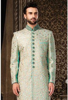 Wedding Sherwani-Seafoam Green-Zari Work-SH218