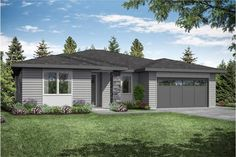 This Prairie house plan has 3 bedrooms, 2 bathrooms, and a 2 car front entry garage. This home plan is featured in the Ranch, 1 Story House Plans and 3 Bedroom House Plans collections. Craftsman Style House Plans, Ranch House Plans, New House Plans, Prairie House, Prairie Style Houses, Southern Ranch Style Homes, Affordable House Plans, Floor Framing, Contemporary House Plans