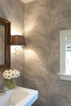 st. nicholas - Nightingale Design, like the taupe, with white, gray and dark wood accents. Wallpaper not practical for this bathroom.