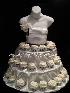 The Couture Cupcake Stand will set you apart and add style and WOW to your event: Bridal showers, quinceaneras, weddings or even a birthday celebration to display your cupcakes for your guests to enjoy. Allow 3 weeks lead time, (21 days) from date of purchase to receive  Measures Approximately 30 high x 31 wide at base 3 tiers: 18, 24 and 31 with supports at each tier Holds 75-100 cupcakes depending on size, cupcakes are displayed all around the dress Easy assembly, instructions included…