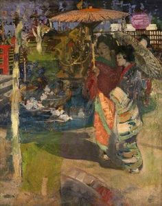 ☂ Paper Lanterns and Parasols ☂ Japonisme Art and Illustration - George Henry | In a Japanese Garden, c.1894