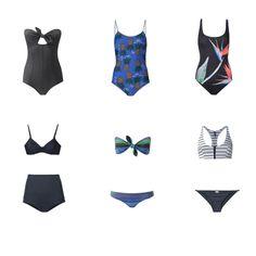 Swim wear 2016: preto, azul cobalto e verde jade