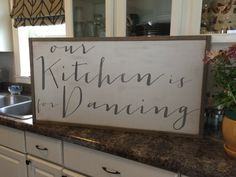 18x34 Framed Our kitchen is for dancing wood by SaltedWordsCompany