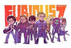 Ellen Ripley, Rita vrataski, furiosa, Brianne, the bride, gamora and Princess mononoke