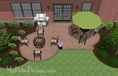 Unique, colorful and affordable, our Small Backyard Patio Design creates areas for a patio table and fun fire pit area. Download plan at MyPatioDesign.com.