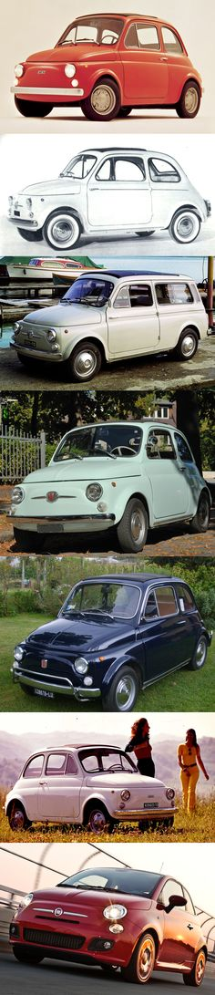 Fiat 500 Evolution From 1957-2011-Aw my Mum had the one on the top and I now have the one on the bottom.