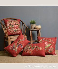 $15/EACH | Chinoiserie Dragon & Phoenix Series | Linen Throw Pillow Cover | Decorative Home Decor #chinoiserie #homedecor #pillowcover