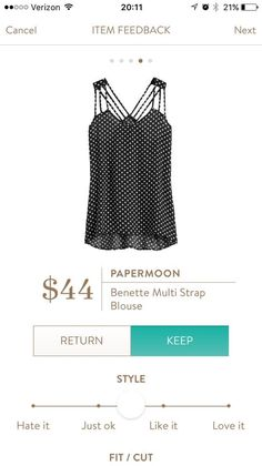 I like the strappy look of this shirt and the polka dots!