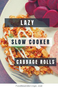 These Lazy Slow Cooker Cabbage Rolls taste exactly like regular meat and rice cabbage rolls, but in cabbage roll casserole form and without all the work. They are Weight Watchers friendly at only 5 WW points on the blue plan!#cabbagerolls #slowcooker #lazy Lazy Cabbage Rolls, Slow Cooker Cabbage Rolls, Cabbage Roll Casserole, Cabbage Rolls Recipe, Cabbage Recipes, Ww Recipes, Healthy Dessert Recipes, Slow Cooker Recipes, Crockpot Recipes