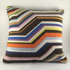 Jonathan Adler Bargello ZigZag Throw Pillow Wool Needlepoint Brown Orange Pink #JonathanAdler