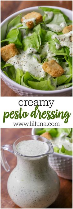 Creamy Pesto Dressing - this salad dressing is SO yummy and it only takes a handful of ingredients! Buttermilk, mayo, sour cream, pesto, and parmesan cheese!