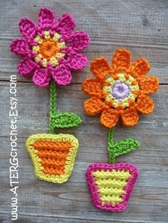 Crochet pattern FLOWER GARDEN magnets by by ATERGcrochet on Etsy