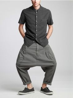 Aged Cotton Low Crotch Trousers by SYNGMAN CUCALA