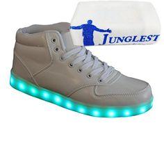 (Present:kleines Handtuch)Weiß EU 43, Sneakers Herren mode Party Farbe 7 Leuchtend USB Aufladen Glow Turnschuhe Tanzen für Unisex Damen Sport High-Top