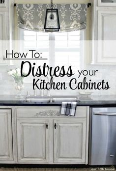 Chic Kitchen Cabinets The inspiration behind my decision to distress my kitchen cabinets came from this article. I fell in love with that French inspired kitchen and decided I needed a little of that in my life s'il vous… Distressed Kitchen Cabinets, Painting Kitchen Cabinets White, Rustic Cabinets, Diy Kitchen Cabinets, Kitchen Redo, Painting Cabinets, White Cabinets, Rustic Kitchen, New Kitchen