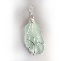 Sea Glass and Sterling Pendant - Wave Tumbled Light Green Sea Glass