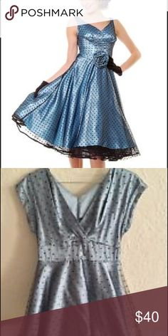 Icy blue and polka dot party dress This dress is great for formal affairs. Can be worn with a crinoline slip for a retro prom look! Stop Staring Dresses Prom