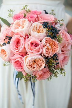 Peach and Pink Cabbage Rose Bouquet / Temecula Wedding / 20 Beautiful Bouquets via StyleUnveiled.com