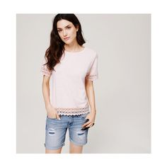 LOFT Lacy Tee ($35) ❤ liked on Polyvore featuring tops, t-shirts, icy peach, lace trim tee, lace tee, short sleeve tops, short sleeve t shirts and peach top