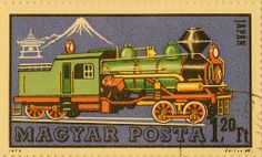 Train post stamp from Hungary