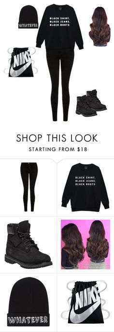 """this is me #1"" by daisy101carrillo on Polyvore featuring Current/Elliott, Timberland, Local Heroes and NIKE"