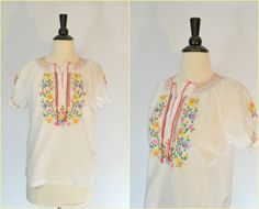 1970s Peasant Blouse Floral Embroidery by KrisVintageClothing, $24.99