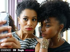 Get Ready for #TGIT! Exclusive Behind-the-Scenes Dish from PEOPLE, Entertainment Weekly and Essence's Exclusive Photo Shoot | STRIKE A POSE  | Grey's Anatomy costars Kelly McCreary (left) and Jerrika Hinton find their light. No filters necessary – they already look fabulous.