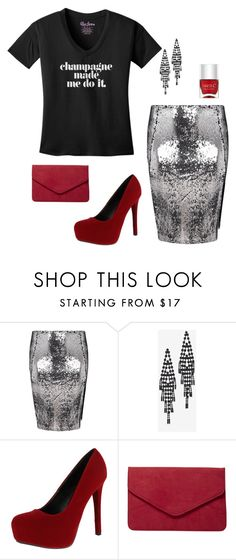 """Plus Size New Years Eve Outfit"" by elsajanedotcom ❤ liked on Polyvore featuring Boohoo, White House Black Market, Qupid, Dorothy Perkins and Nails Inc."