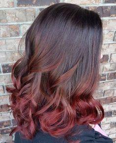 burgundy ombre for medium length black hair