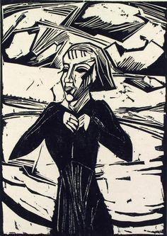 Available for sale from Henze & Ketterer & Triebold, Erich Heckel, Mädchen am Meer Woodcut, 62 × 49 cm Franz Marc, Woodcut Art, Linocut Prints, Art Prints, Block Prints, Henri Rousseau, Kandinsky, Ludwig Meidner, Renaissance